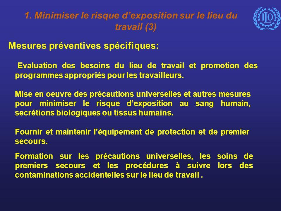 Mesures préventives spécifiques: Evaluation des besoins du lieu de travail et promotion des programmes appropriés pour les travailleurs. Mise en oeuvr