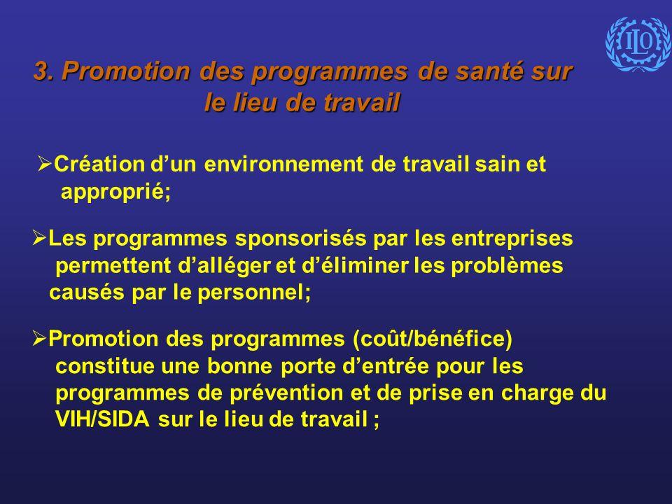 3. Promotion des programmes de santé sur le lieu de travail Création dun environnement de travail sain et approprié; Les programmes sponsorisés par le