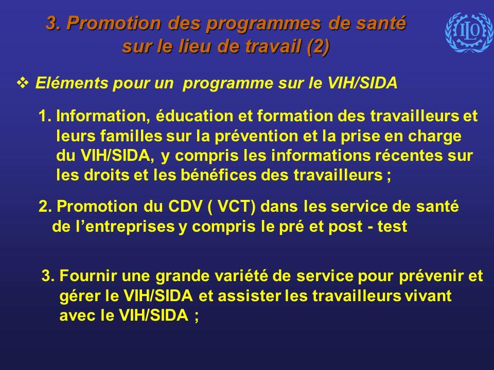 3. Promotion des programmes de santé sur le lieu de travail (2) Eléments pour un programme sur le VIH/SIDA 1. Information, éducation et formation des