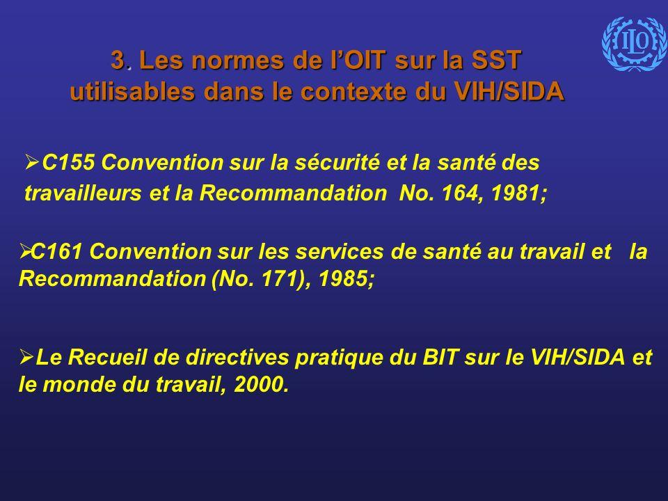 3. Les normes de lOIT sur la SST utilisables dans le contexte du VIH/SIDA C155 Convention sur la sécurité et la santé des travailleurs et la Recommand