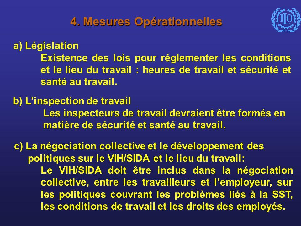 4. Mesures Opérationnelles a) Législation Existence des lois pour réglementer les conditions et le lieu du travail : heures de travail et sécurité et