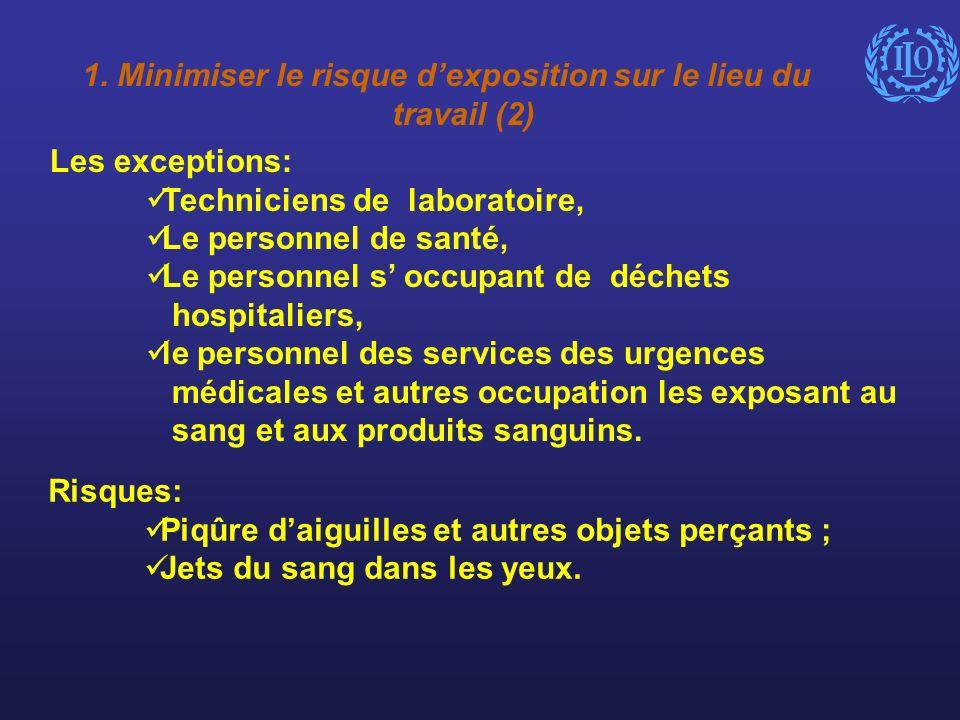 1. Minimiser le risque dexposition sur le lieu du travail (2) Les exceptions: Techniciens de laboratoire, Le personnel de santé, Le personnel s occupa