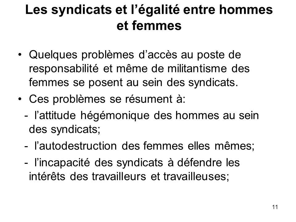 11 Les syndicats et légalité entre hommes et femmes Quelques problèmes daccès au poste de responsabilité et même de militantisme des femmes se posent au sein des syndicats.