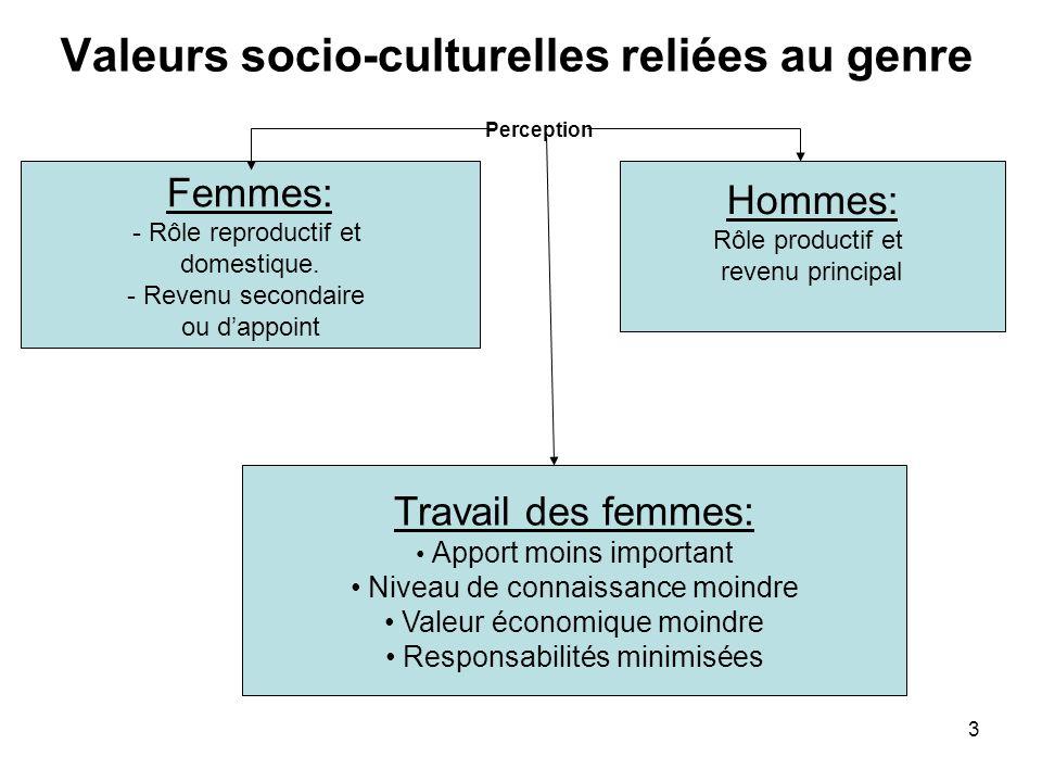 3 Valeurs socio-culturelles reliées au genre Perception Femmes: - Rôle reproductif et domestique. - Revenu secondaire ou dappoint Hommes: Rôle product