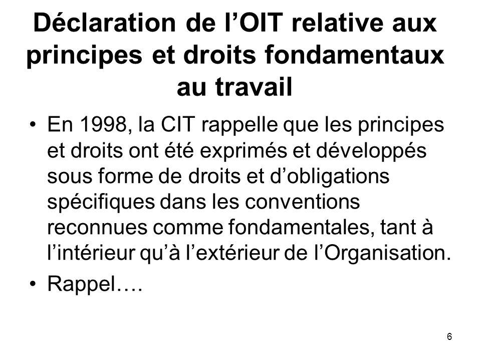 6 Déclaration de lOIT relative aux principes et droits fondamentaux au travail En 1998, la CIT rappelle que les principes et droits ont été exprimés et développés sous forme de droits et dobligations spécifiques dans les conventions reconnues comme fondamentales, tant à lintérieur quà lextérieur de lOrganisation.
