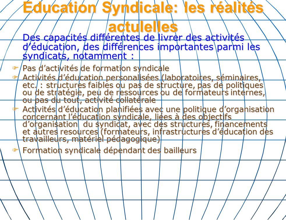 Education Syndicale: les réalités actulelles Des capacités différentes de livrer des activités déducation, des différences importantes parmi les syndicats, notamment : Pas dactivités de formation syndicale Pas dactivités de formation syndicale Activités déducation personalisées (laboratoires, séminaires, etc.
