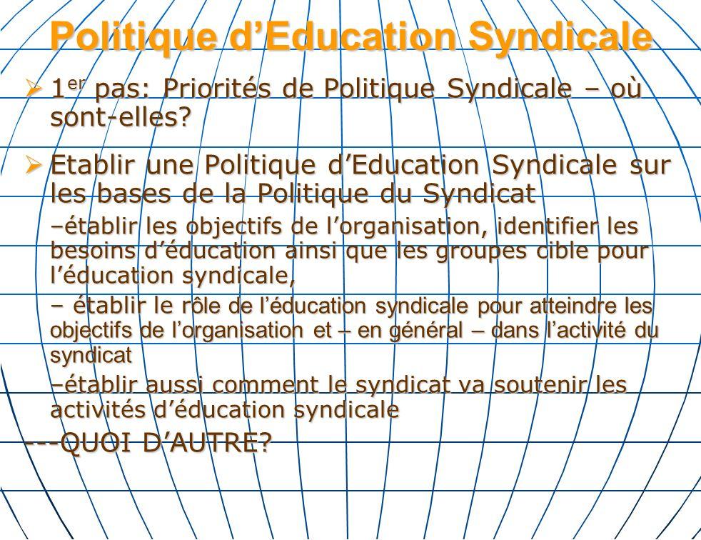 Politique dEducation Syndicale 1 er pas: Priorités de Politique Syndicale – où sont-elles.