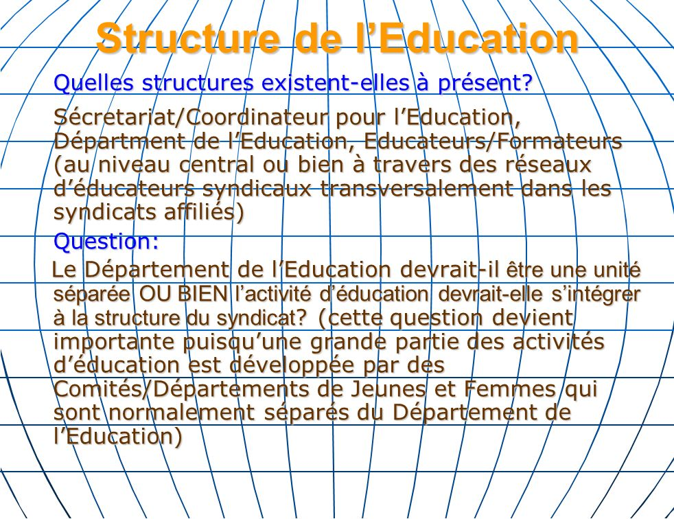 Financement de lEducation Syndicale Comment est-ce que les syndicat financent lEducation Syndicale.