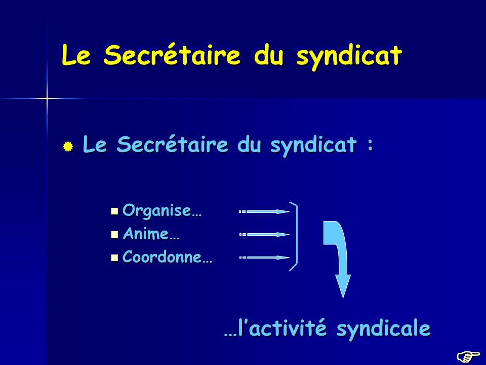 Le Secrétaire du syndicat Le Secrétaire du syndicat : Le Secrétaire du syndicat : Organise… Organise… Anime… Anime… Coordonne… Coordonne… …lactivité syndicale