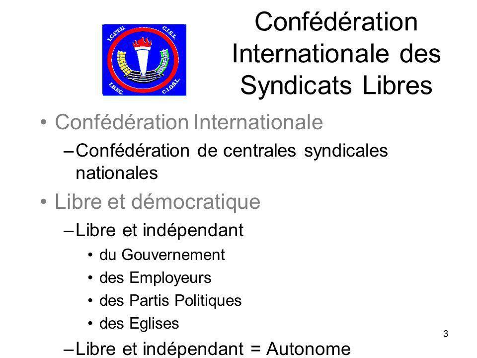3 Confédération Internationale des Syndicats Libres Confédération Internationale –Confédération de centrales syndicales nationales Libre et démocratiq