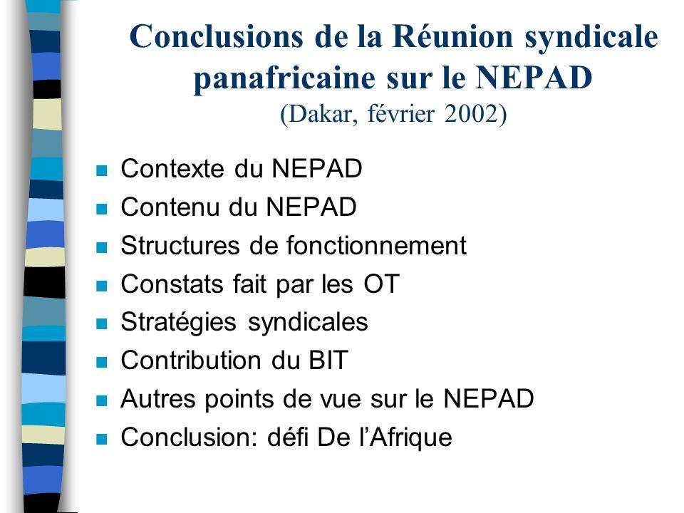 Conclusions de la Réunion syndicale panafricaine sur le NEPAD (Dakar, février 2002) n Contexte du NEPAD n Contenu du NEPAD n Structures de fonctionnement n Constats fait par les OT n Stratégies syndicales n Contribution du BIT n Autres points de vue sur le NEPAD n Conclusion: défi De lAfrique