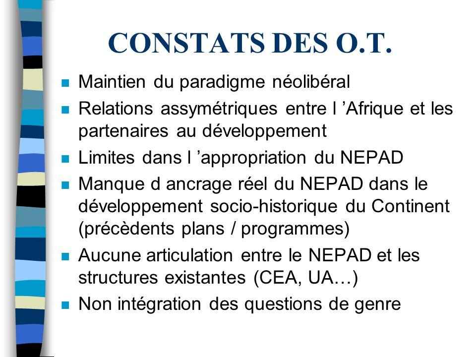 CONSTATS DES O.T.