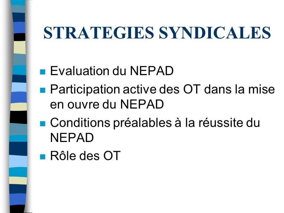 STRATEGIES SYNDICALES n Evaluation du NEPAD n Participation active des OT dans la mise en ouvre du NEPAD n Conditions préalables à la réussite du NEPAD n Rôle des OT