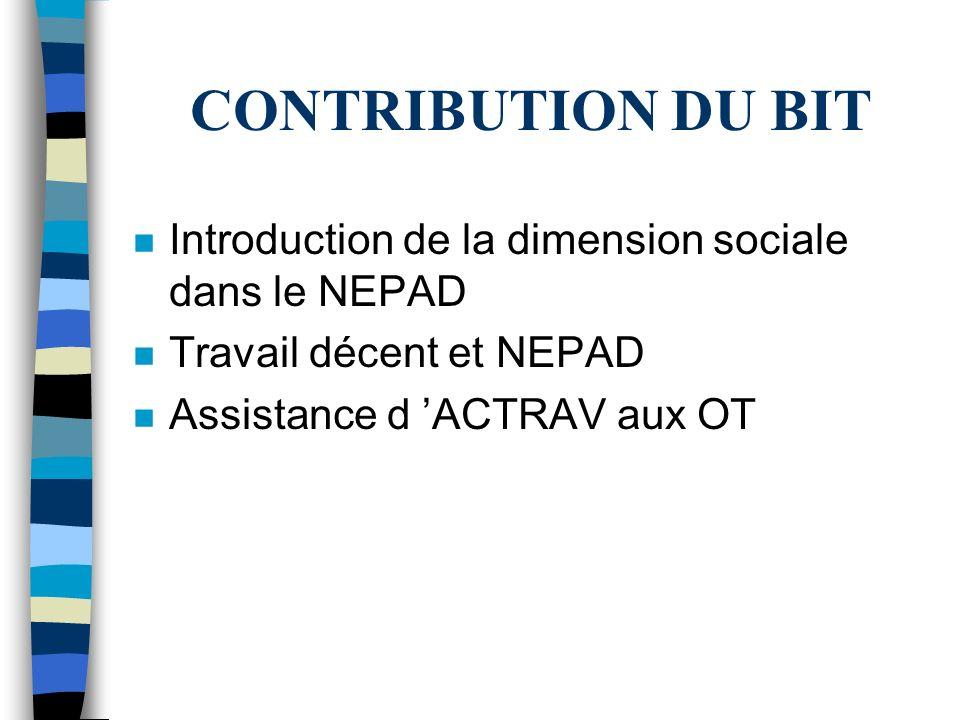 CONTRIBUTION DU BIT n Introduction de la dimension sociale dans le NEPAD n Travail décent et NEPAD n Assistance d ACTRAV aux OT