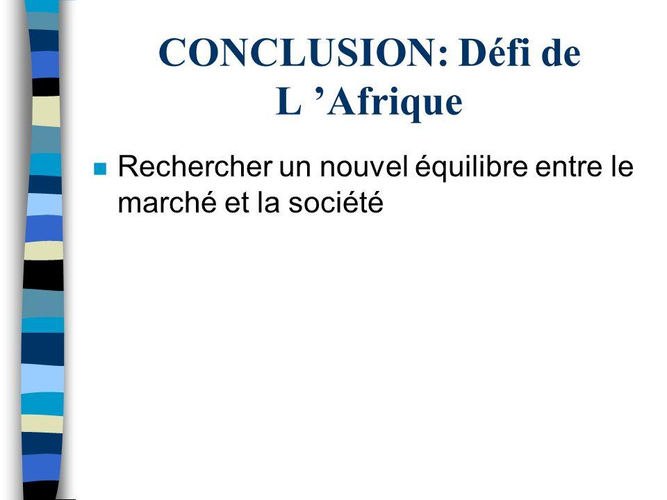 CONCLUSION: Défi de L Afrique n Rechercher un nouvel équilibre entre le marché et la société