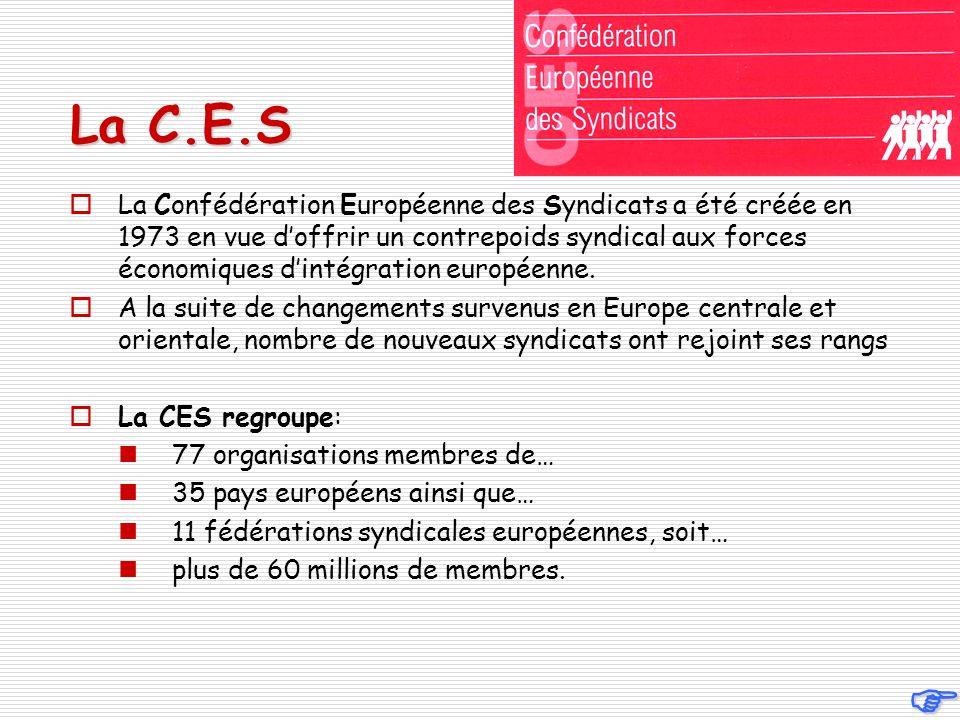La C.E.S La Confédération Européenne des Syndicats a été créée en 1973 en vue doffrir un contrepoids syndical aux forces économiques dintégration européenne.