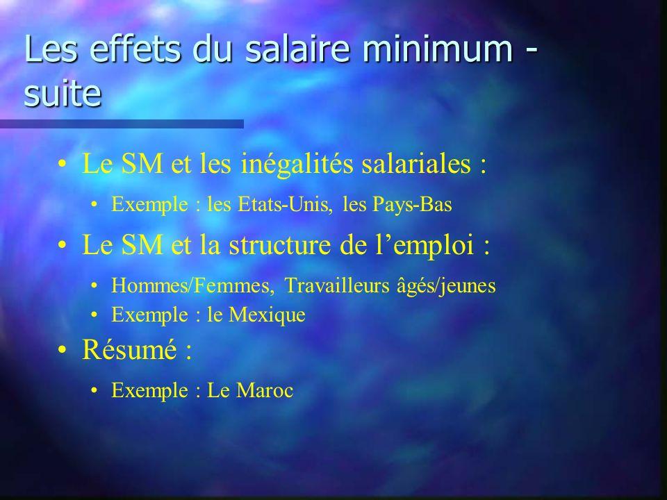 Les effets du salaire minimum - suite Le SM et les inégalités salariales : Exemple : les Etats-Unis, les Pays-Bas Le SM et la structure de lemploi : Hommes/Femmes, Travailleurs âgés/jeunes Exemple : le Mexique Résumé : Exemple : Le Maroc