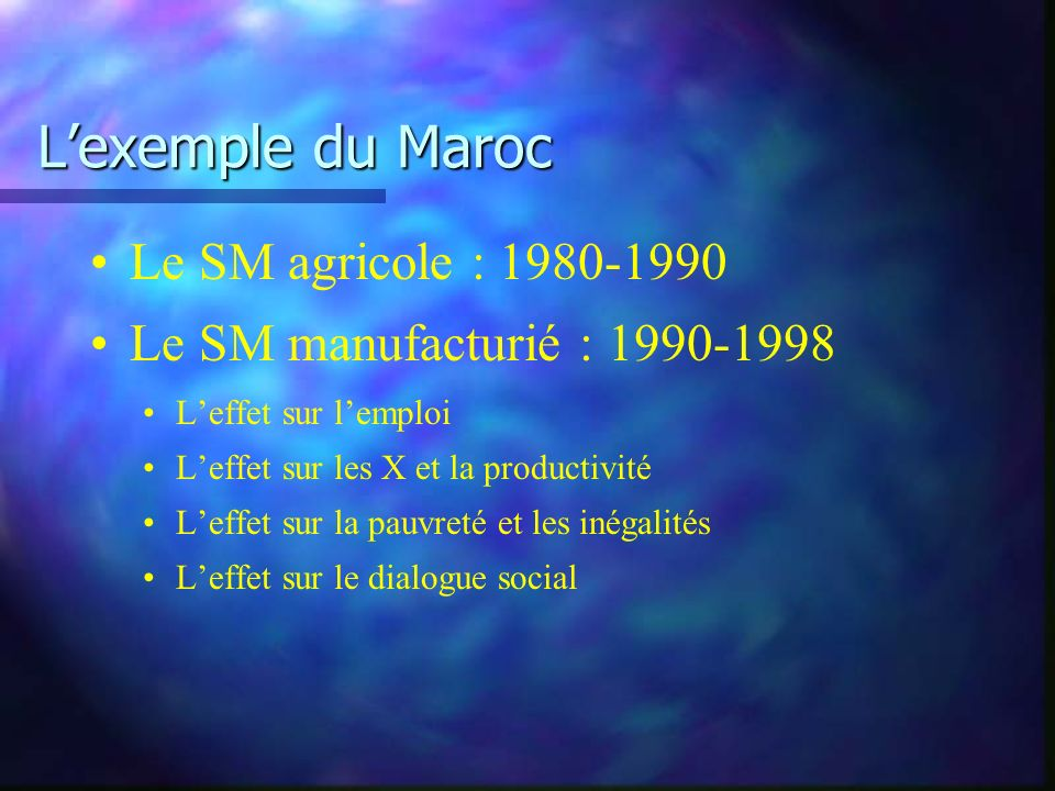 Lexemple du Maroc Le SM agricole : 1980-1990 Le SM manufacturié : 1990-1998 Leffet sur lemploi Leffet sur les X et la productivité Leffet sur la pauvreté et les inégalités Leffet sur le dialogue social