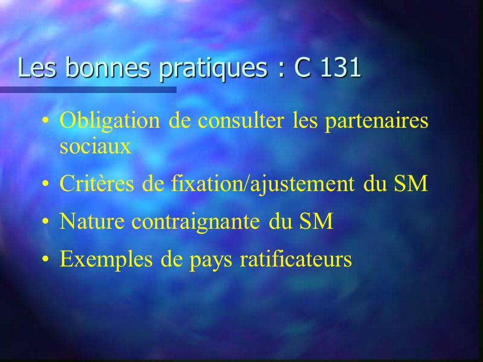Les bonnes pratiques : C 131 Obligation de consulter les partenaires sociaux Critères de fixation/ajustement du SM Nature contraignante du SM Exemples de pays ratificateurs