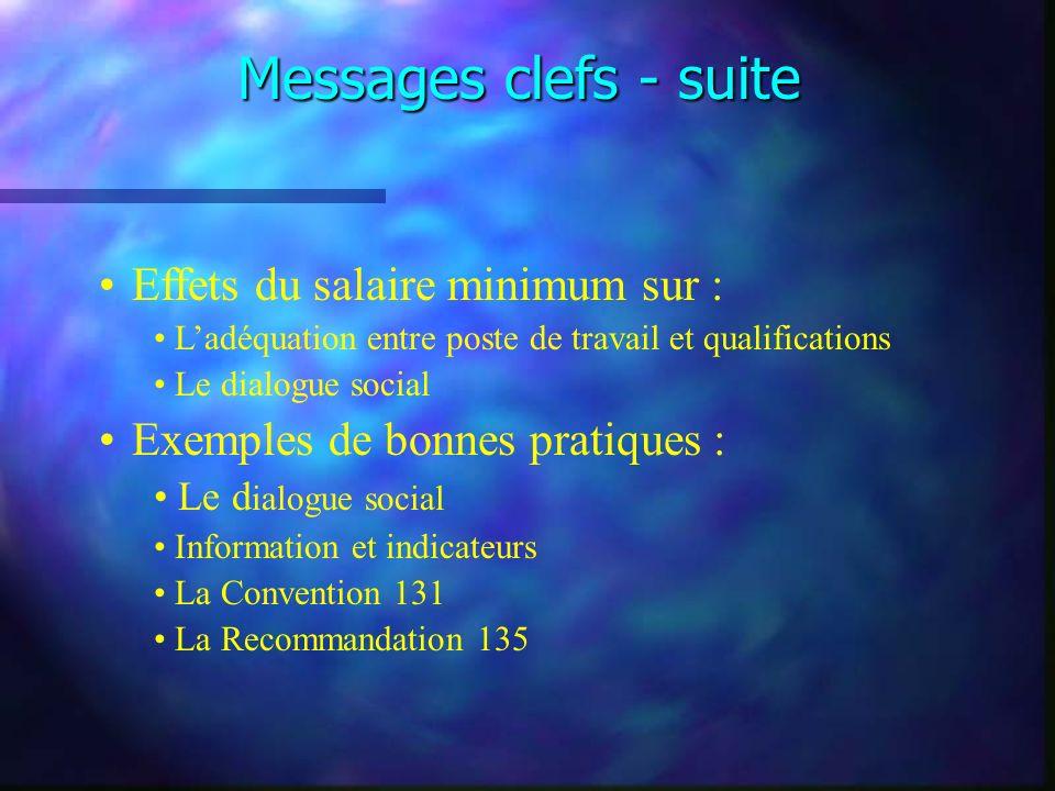 Messages clefs - suite Effets du salaire minimum sur : Ladéquation entre poste de travail et qualifications Le dialogue social Exemples de bonnes prat