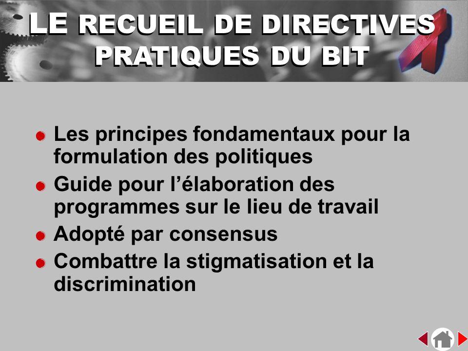 &Les principes fondamentaux pour la formulation des politiques &Guide pour lélaboration des programmes sur le lieu de travail &Adopté par consensus &C