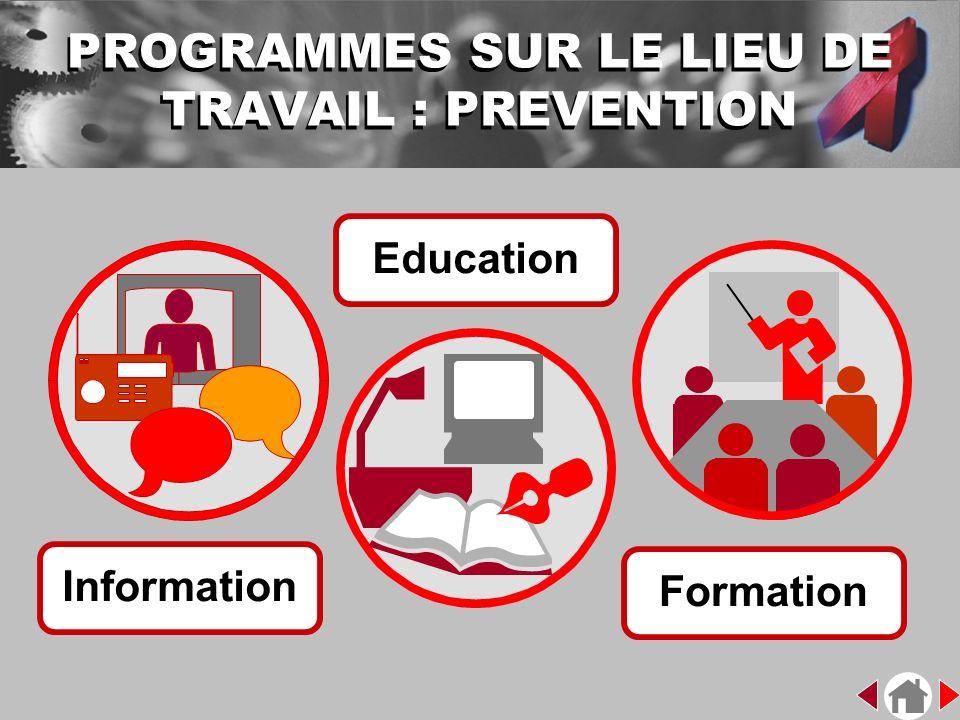 Information Formation Education PROGRAMMES SUR LE LIEU DE TRAVAIL : PREVENTION