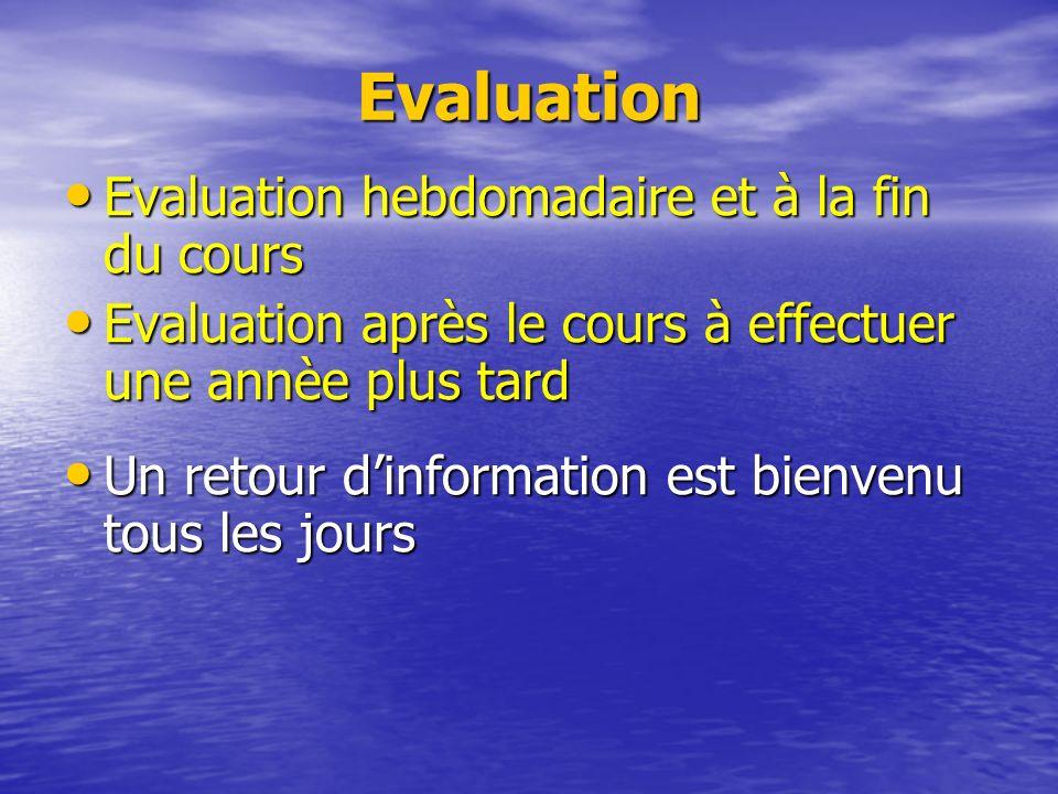 Evaluation Evaluation hebdomadaire et à la fin du cours Evaluation hebdomadaire et à la fin du cours Evaluation après le cours à effectuer une annèe plus tard Evaluation après le cours à effectuer une annèe plus tard Un retour dinformation est bienvenu tous les jours Un retour dinformation est bienvenu tous les jours
