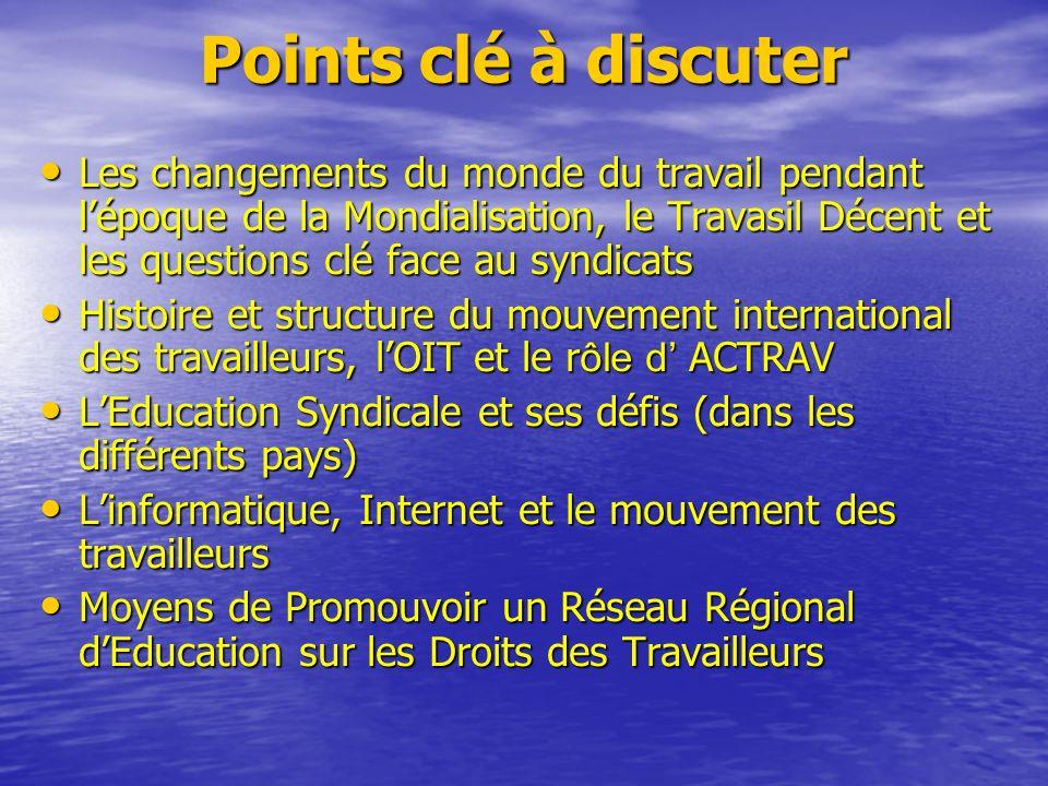 Points clé à discuter Les Normes Internationales du Travail et la Déclaration de lOIT, avec une attention : – au système général des normes, fonctionnement & Procédures & Equipement de Supervision – à la Liberté dAssociation & Droits à la Négociation Collective (C87 & 98), – à la Liberté dAssociation & Droits à la Négociation Collective (C87 & 98), – R ô le des Représentants des Travailleurs dans la formulation, ladoption, la présentation et la ratification des Normes Internationales du travail – R ô le des Représentants des Travailleurs dans la formulation, ladoption, la présentation et la ratification des Normes Internationales du travail