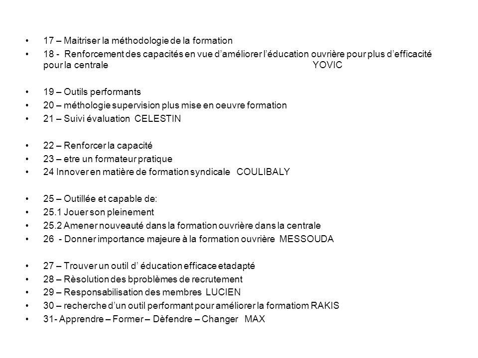 TRAVAUX AVEC D ARCY Attentes Jeudi midi 1 - Rendre léducation prioritaire 2 – Sequence :programme / conception/evaluation 3 – Outils performants /efficaces 4 – Bon formateur 5 – Redynamiser / Innover 6 - Afrique 7 - Manuel