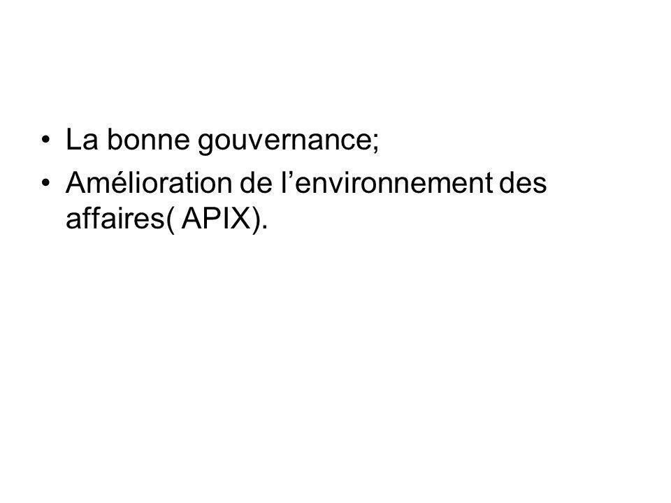 La bonne gouvernance; Amélioration de lenvironnement des affaires( APIX).