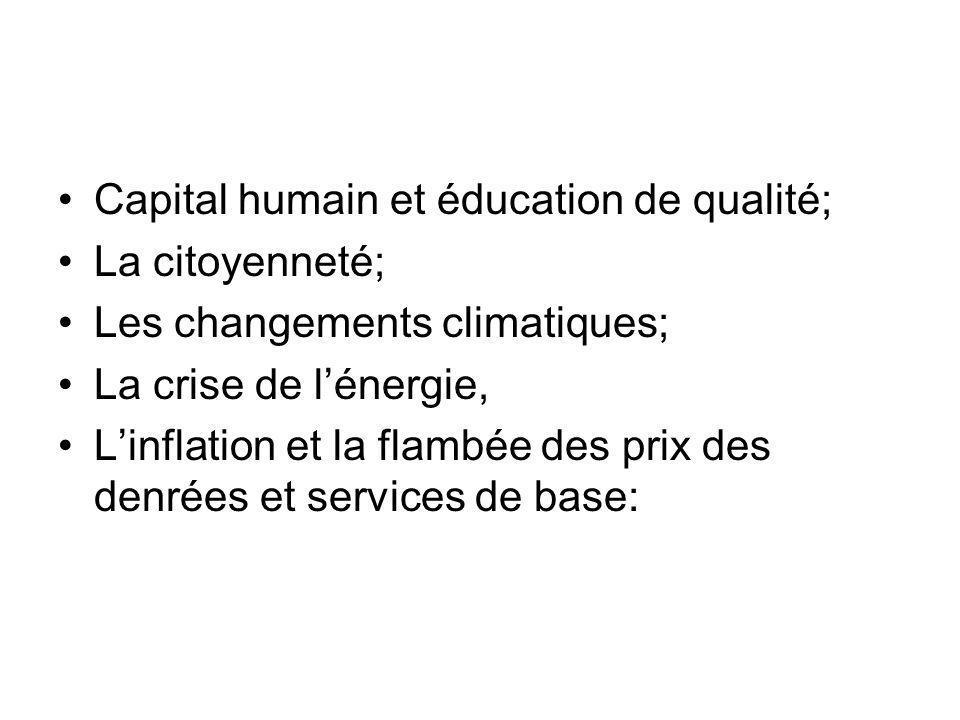 Capital humain et éducation de qualité; La citoyenneté; Les changements climatiques; La crise de lénergie, Linflation et la flambée des prix des denrées et services de base: