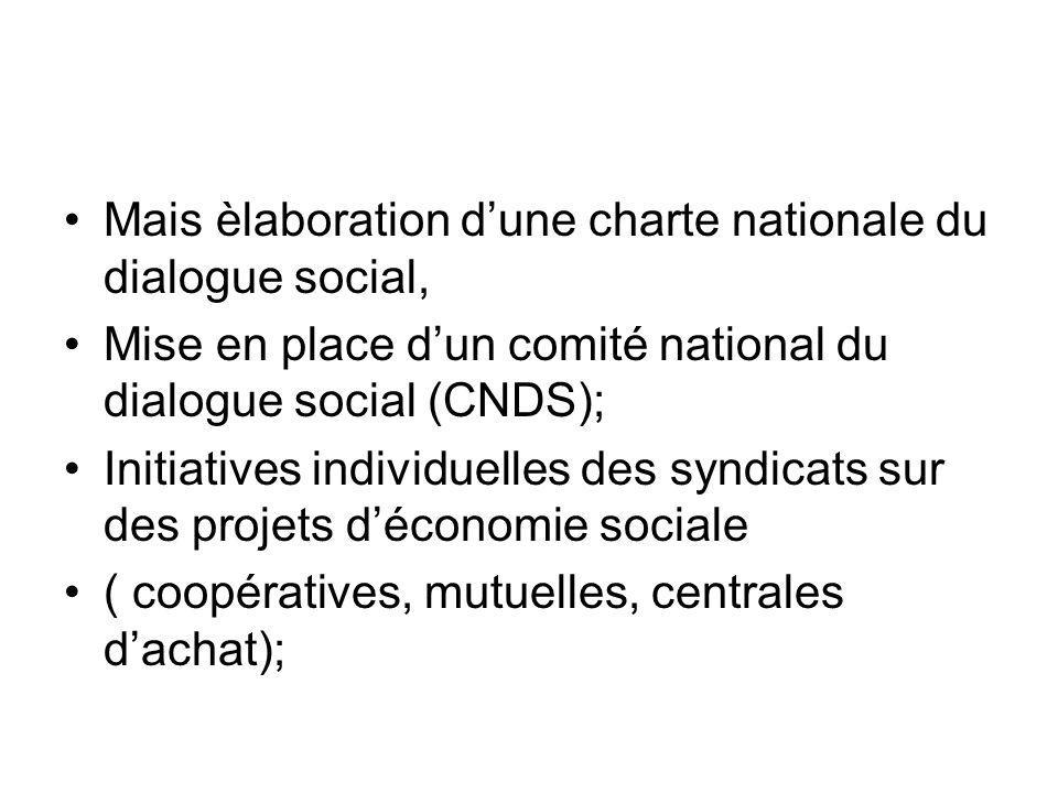 Mais èlaboration dune charte nationale du dialogue social, Mise en place dun comité national du dialogue social (CNDS); Initiatives individuelles des