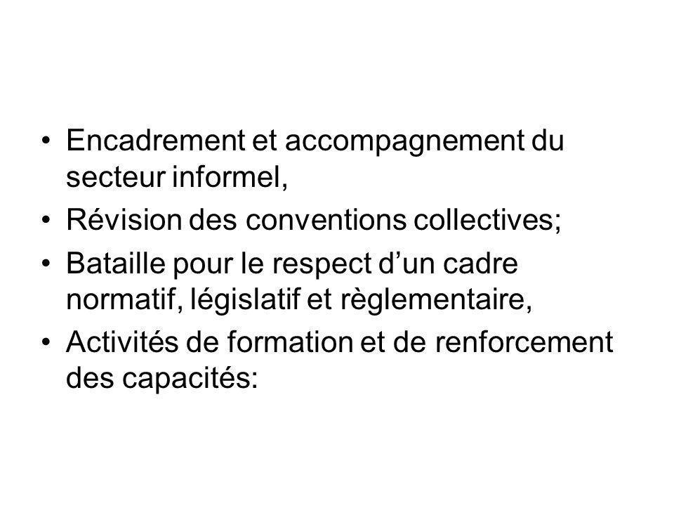 Encadrement et accompagnement du secteur informel, Révision des conventions collectives; Bataille pour le respect dun cadre normatif, législatif et règlementaire, Activités de formation et de renforcement des capacités: