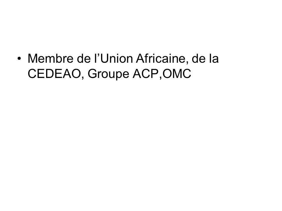 Membre de lUnion Africaine, de la CEDEAO, Groupe ACP,OMC