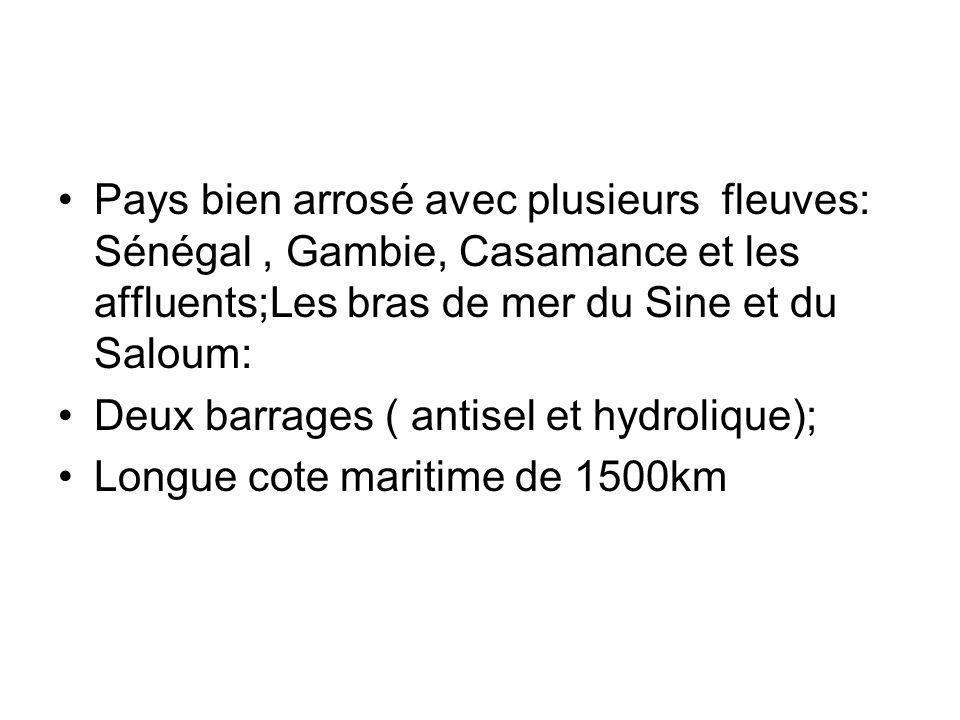 Pays bien arrosé avec plusieurs fleuves: Sénégal, Gambie, Casamance et les affluents;Les bras de mer du Sine et du Saloum: Deux barrages ( antisel et hydrolique); Longue cote maritime de 1500km