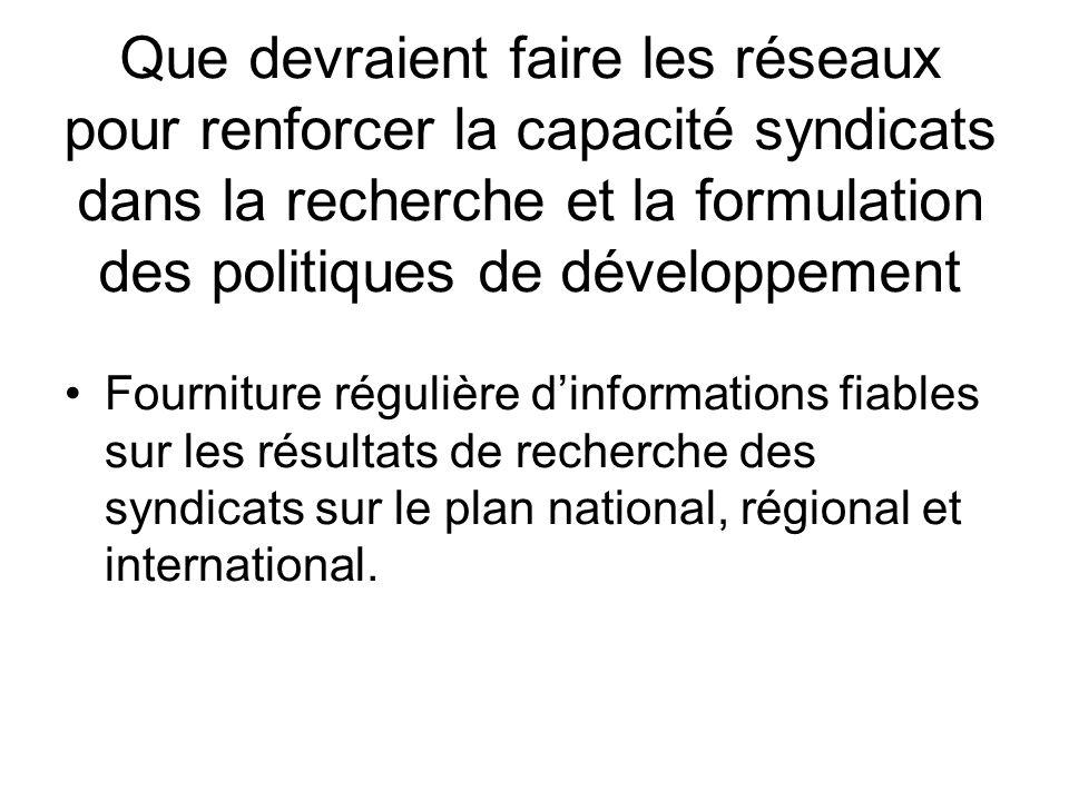 Que devraient faire les réseaux pour renforcer la capacité syndicats dans la recherche et la formulation des politiques de développement Fourniture régulière dinformations fiables sur les résultats de recherche des syndicats sur le plan national, régional et international.