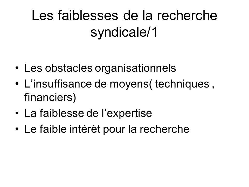 Les faiblesses de la recherche syndicale/1 Les obstacles organisationnels Linsuffisance de moyens( techniques, financiers) La faiblesse de lexpertise Le faible intérèt pour la recherche