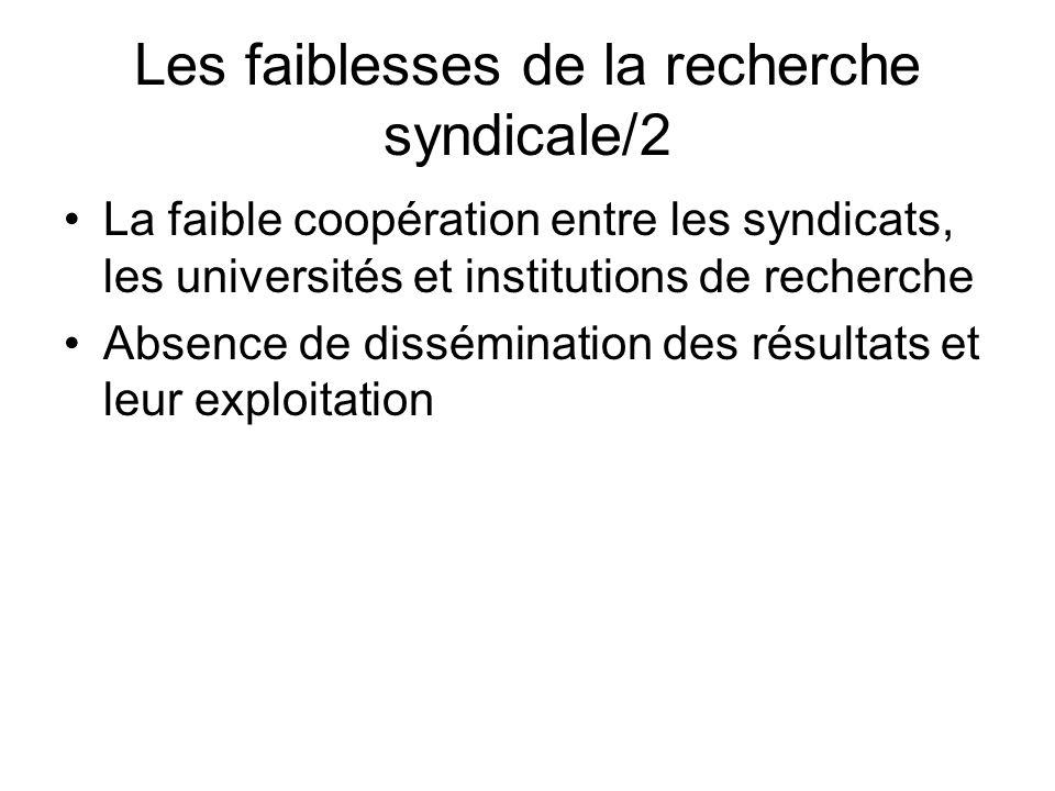 Les faiblesses de la recherche syndicale/2 La faible coopération entre les syndicats, les universités et institutions de recherche Absence de dissémination des résultats et leur exploitation