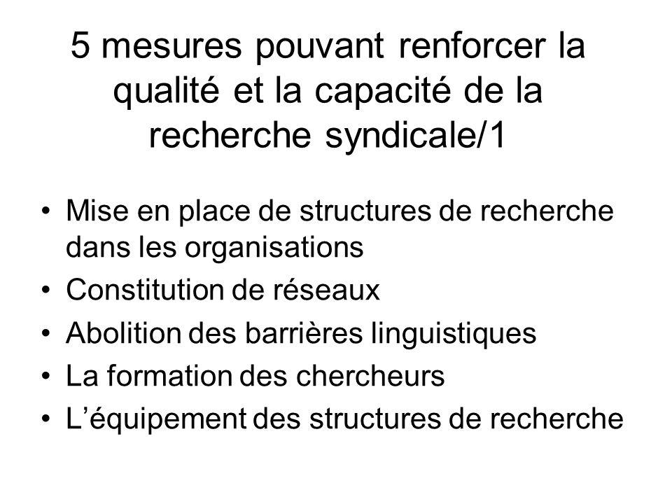 5 mesures pouvant renforcer la qualité et la capacité de la recherche syndicale/1 Mise en place de structures de recherche dans les organisations Constitution de réseaux Abolition des barrières linguistiques La formation des chercheurs Léquipement des structures de recherche