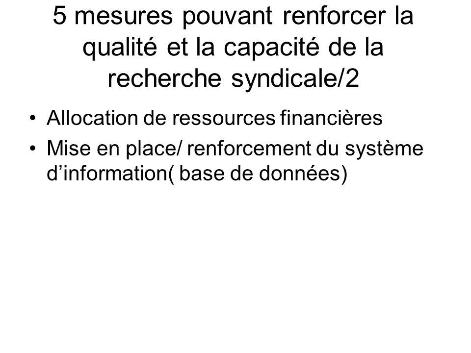 5 mesures pouvant renforcer la qualité et la capacité de la recherche syndicale/2 Allocation de ressources financières Mise en place/ renforcement du système dinformation( base de données)