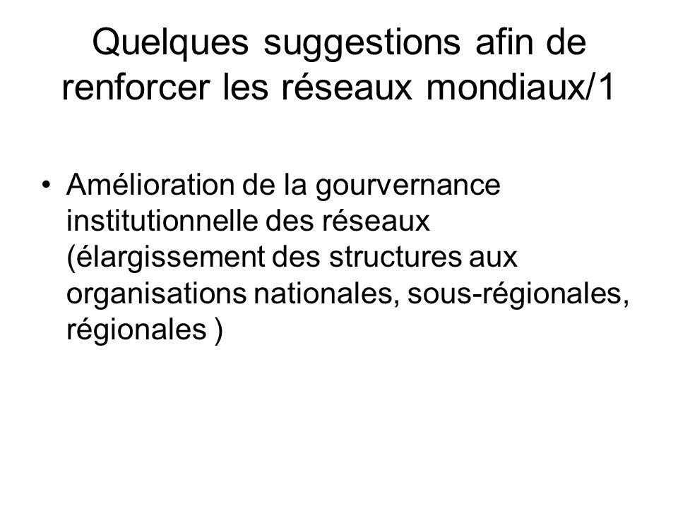 Quelques suggestions afin de renforcer les réseaux mondiaux/1 Amélioration de la gourvernance institutionnelle des réseaux (élargissement des structures aux organisations nationales, sous-régionales, régionales )