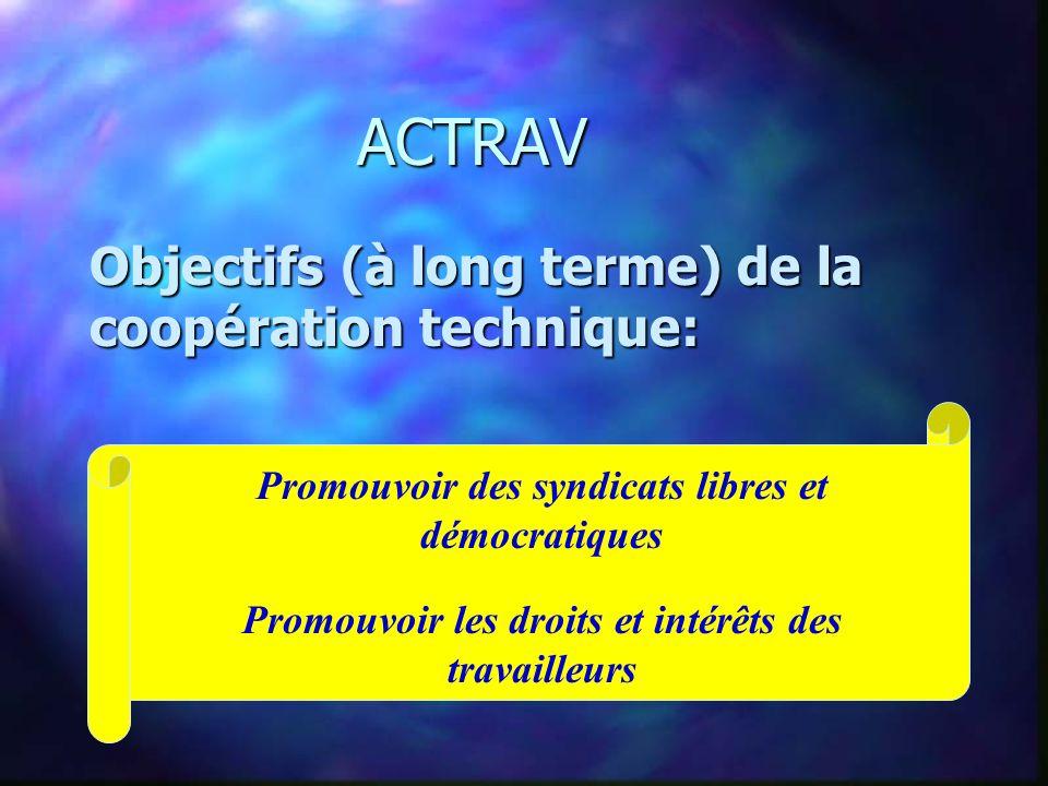 ACTRAV ACTRAV PROGRAMME DES ACTIVITES POUR LES TRAVAILLEURS