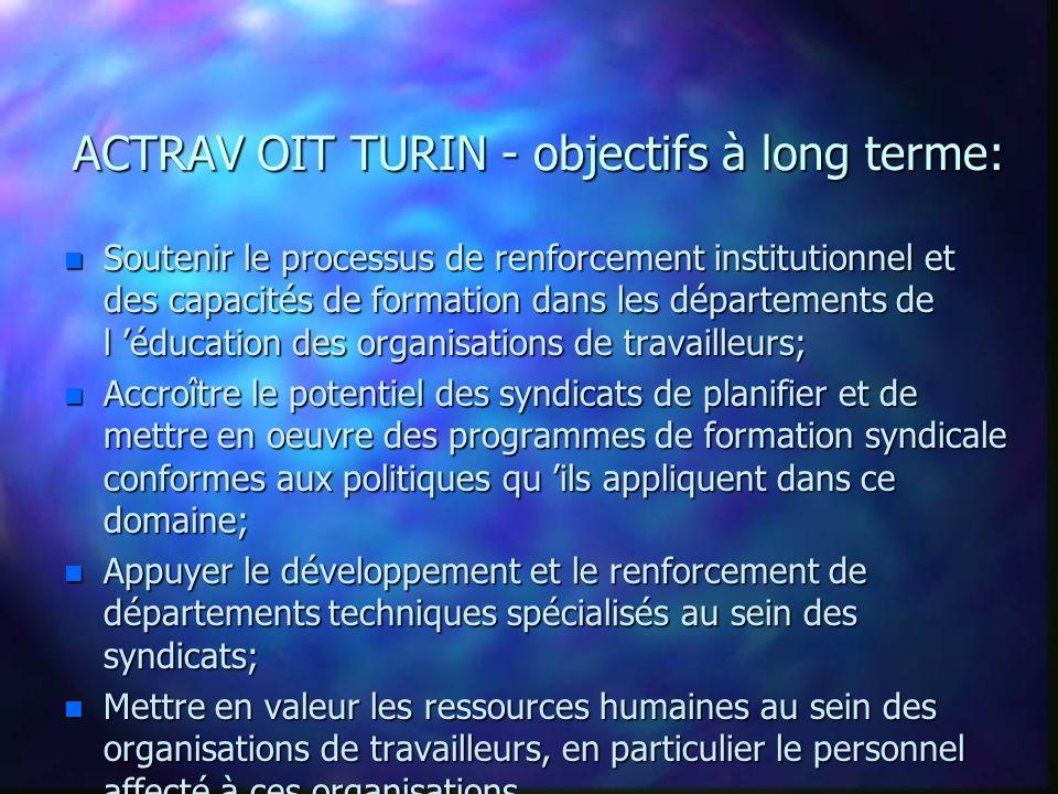 Bureau des Activités pour les Travailleurs (ACTRAV) ACTRAV CENTRE DE TURIN Equipes Multidiscuplinaires