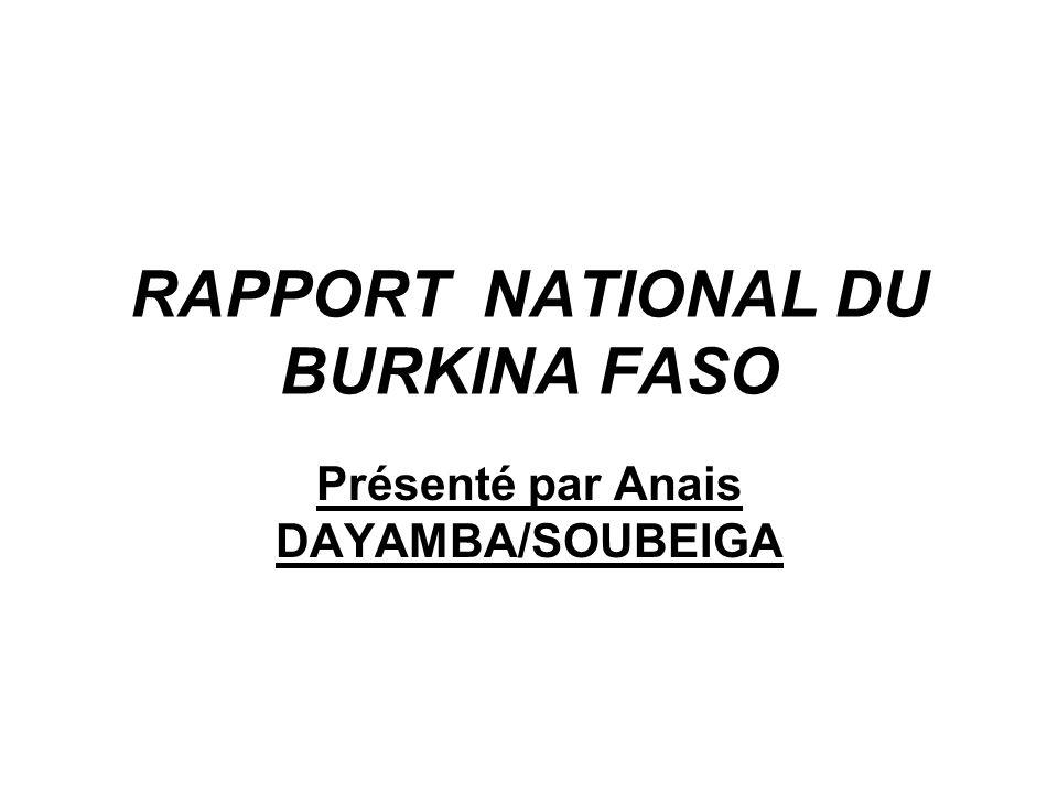 RAPPORT NATIONAL DU BURKINA FASO Présenté par Anais DAYAMBA/SOUBEIGA