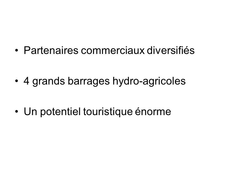 Partenaires commerciaux diversifiés 4 grands barrages hydro-agricoles Un potentiel touristique énorme