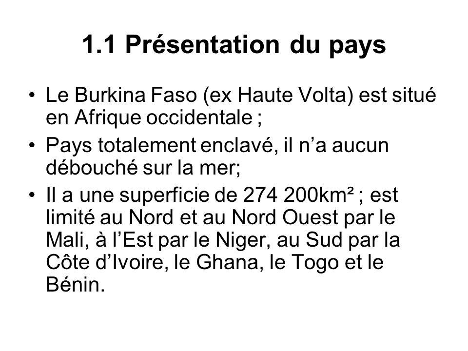 1.1 Présentation du pays Le Burkina Faso (ex Haute Volta) est situé en Afrique occidentale ; Pays totalement enclavé, il na aucun débouché sur la mer;