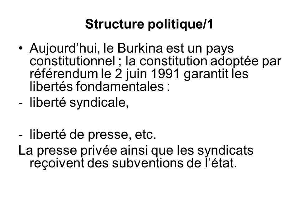 Structure politique/1 Aujourdhui, le Burkina est un pays constitutionnel ; la constitution adoptée par référendum le 2 juin 1991 garantit les libertés