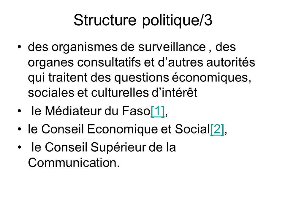 Structure politique/3 des organismes de surveillance, des organes consultatifs et dautres autorités qui traitent des questions économiques, sociales e