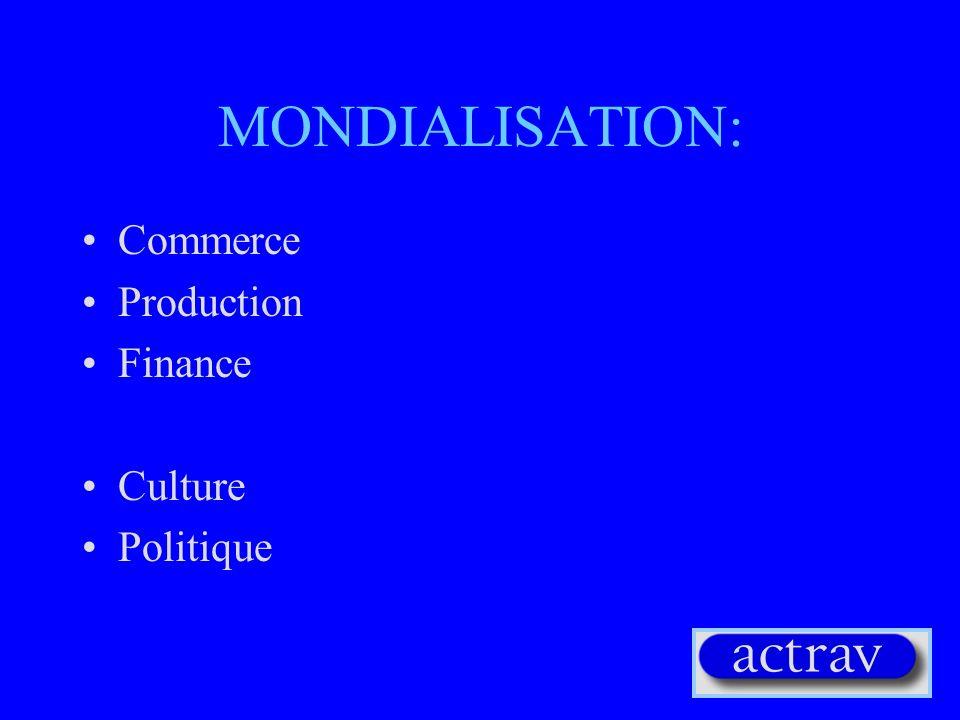 MONDIALISATION DUE AUX : Continuité ou changements radicaux dans: Technologies Evolution des moyens de transport Changements politiques