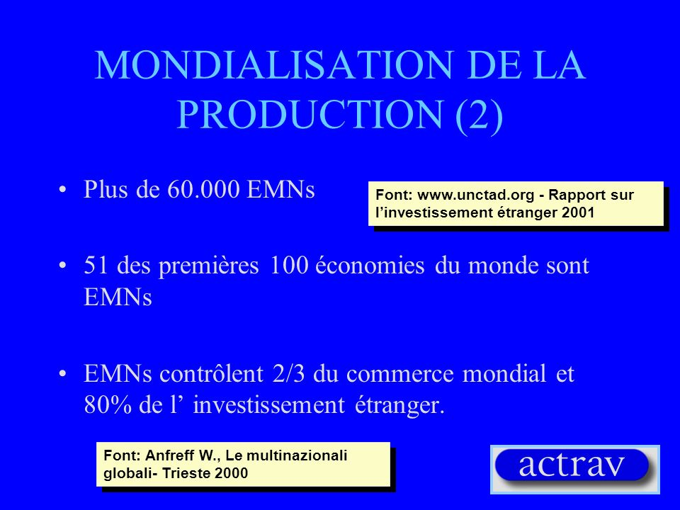 MONDIALISATION DE LA PRODUCTION (1) Transition au post-Fordisme Flexibilité de la production Réduction des travailleurs Nouveaux profils de travail (travailleurs spécialisés) Délocalisation Diversification des produits –les EMNs opérent à l échelle globale